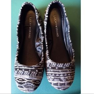 Lucky Brand Emmie Flats Round Toe Slip On Fabric